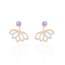 Bijoux D'oreilles Or Rose Amethyste Et Diamant - Ear cuffs Femme | Histoire d'Or