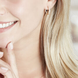Créoles Karolina Rondes Plaque Or Jaune Oxyde De Zirconium - Boucles d'oreilles créoles Femme | Histoire d'Or