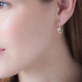 Boucles D'oreilles Pendantes Khaoutarae Or Jaune Oxyde De Zirconium - Boucles d'Oreilles Coeur Femme   Histoire d'Or