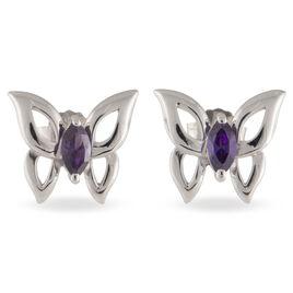 Boucles D'oreilles Puces Argent Blanc Oxyde De Zirconium - Boucles d'Oreilles Papillon Femme | Histoire d'Or