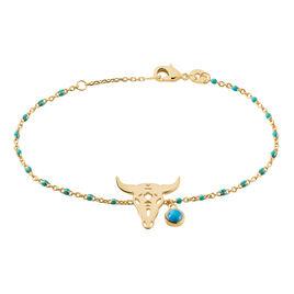 Bracelet Brit Plaque Or Jaune Pierre De Synthese - Bracelets fantaisie Femme   Histoire d'Or