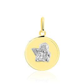 Pendentif Ange Rond Or Bicolore - Naissance Enfant | Histoire d'Or