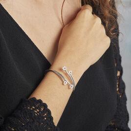Bracelet Jonc Lowell Argent Rhodie Oxyde De Zirconium - Bracelets Coeur Femme   Histoire d'Or