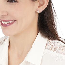 Boucles D'oreilles Puces Ania Argent Blanc - Boucles d'oreilles fantaisie Femme | Histoire d'Or