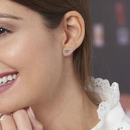 Boucles D'oreilles Puces Cony Argent Blanc - Boucles d'oreilles fantaisie Femme   Histoire d'Or