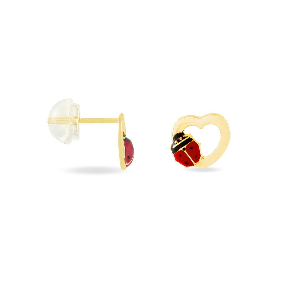 Boucles D'oreilles Puces Coccinelle Lusso Or Jaune - Clous d'oreilles Enfant   Histoire d'Or