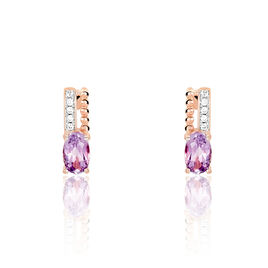 Boucles D'oreilles Pendantes Frannie Or Rose Amethyste Et Oxyde - Boucles d'oreilles pendantes Femme | Histoire d'Or