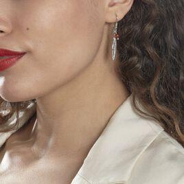 Boucles D'oreilles Pendantes Adriane Argent Blanc Ambre - Boucles d'Oreilles Plume Femme | Histoire d'Or