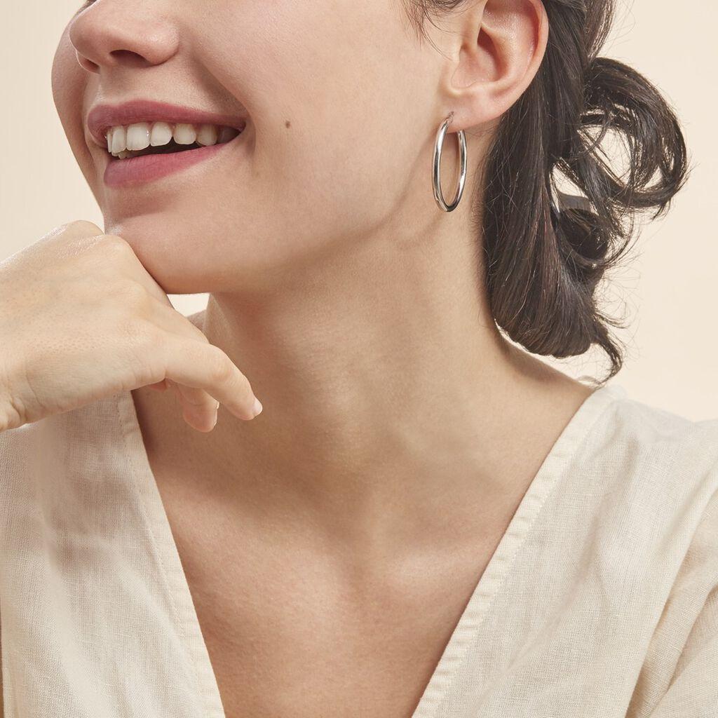 Créoles Anne Lisse Argent Blanc - Boucles d'oreilles créoles Femme   Histoire d'Or