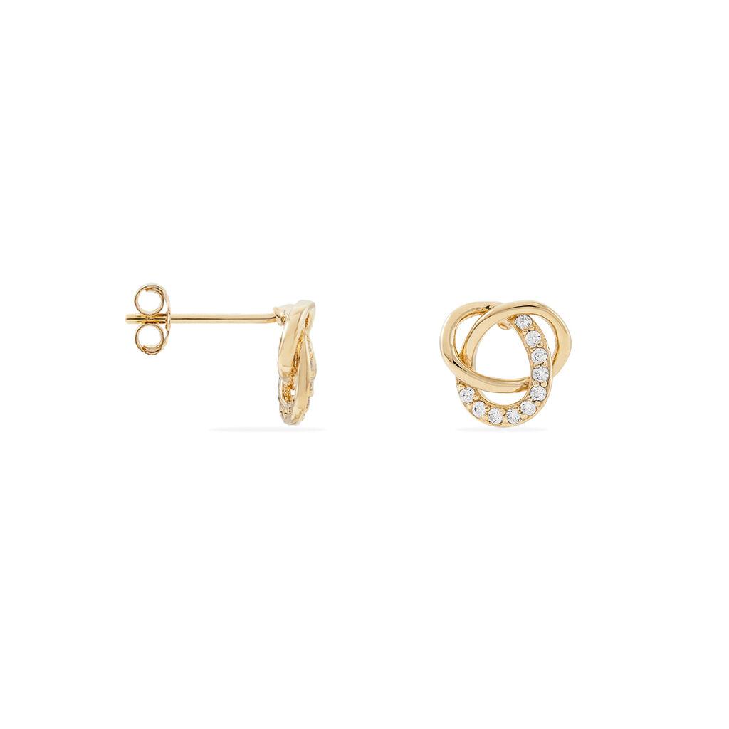 Boucles D'oreilles Puces Henia Plaque Or Jaune Oxyde De Zirconium - Boucles d'oreilles fantaisie Femme   Histoire d'Or