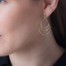 Boucles D'oreilles Pendantes Jenyfer Plaque Or Jaune - Boucles d'oreilles fantaisie Femme   Histoire d'Or