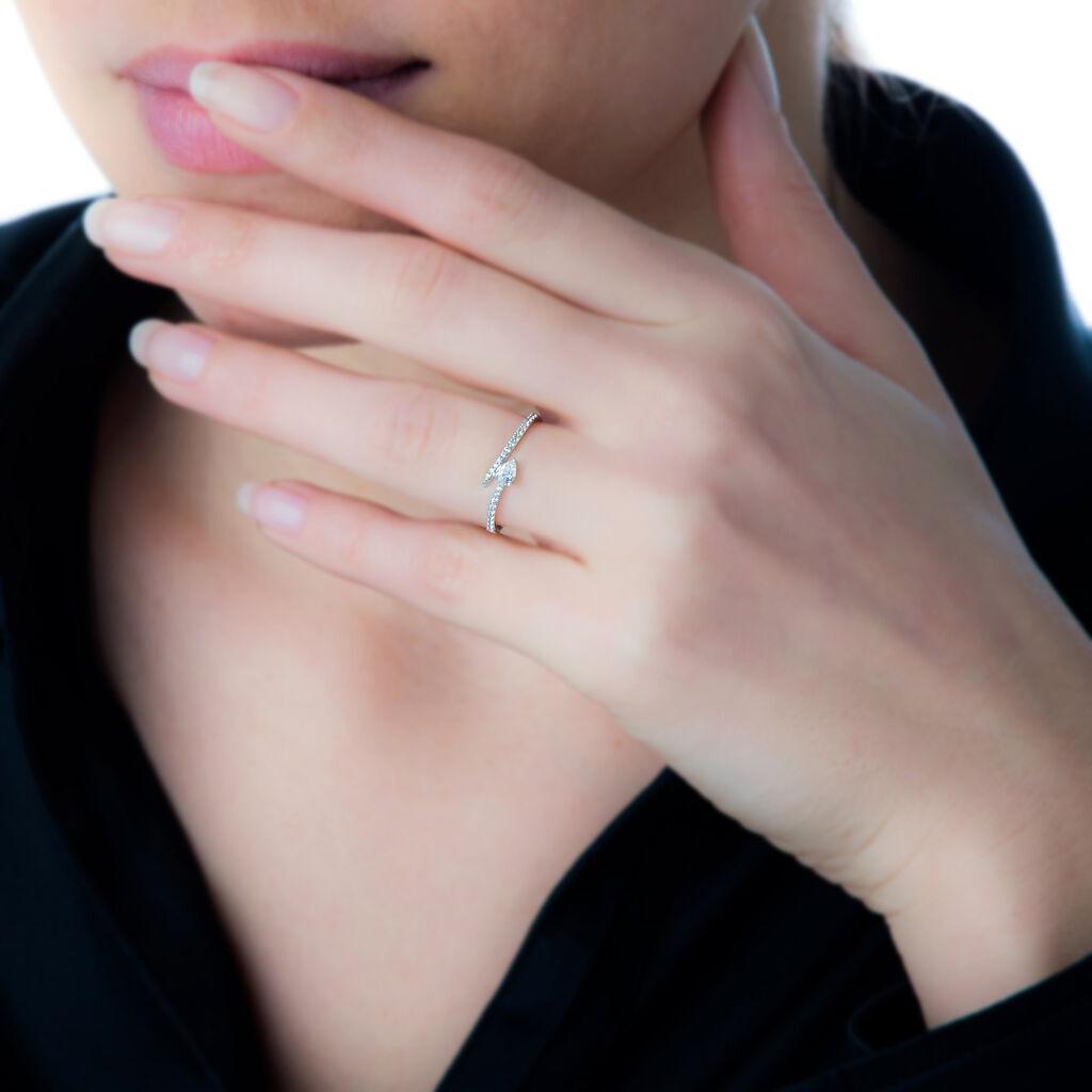Bague Serpent Or Blanc Oxyde De Zirconium - Bagues solitaires Femme   Histoire d'Or