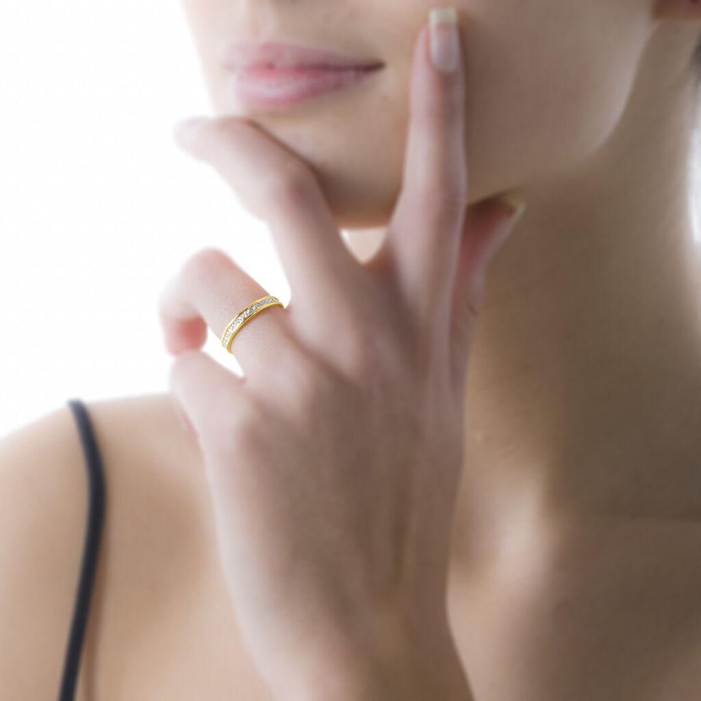 Alliance Laura Diamantee Ruban Plat Or Bicolore - Alliances Famille   Histoire d'Or