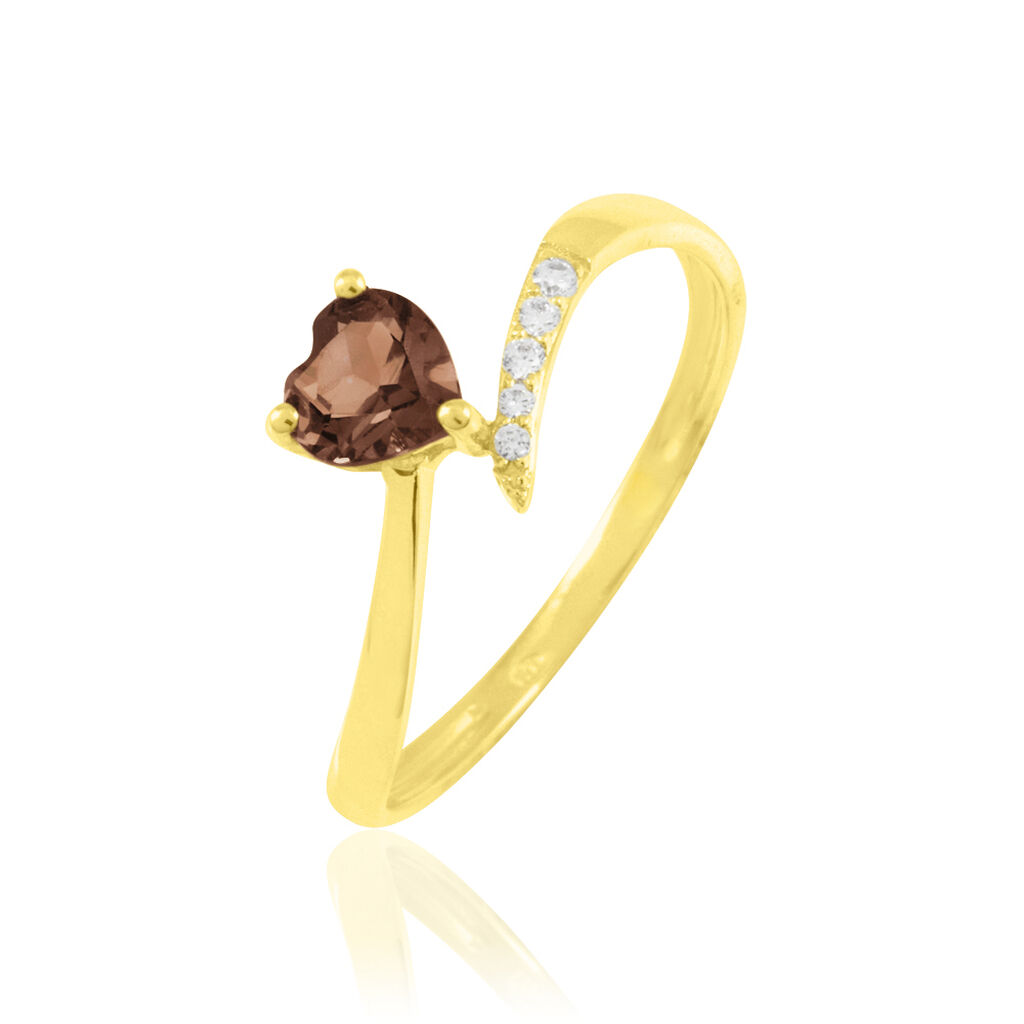 Bague Eva Or Jaune Quartz Et Diamant