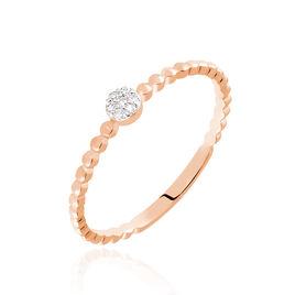 Bague Solitaire Gaxina Or Rose Diamant - Bagues avec pierre Femme   Histoire d'Or