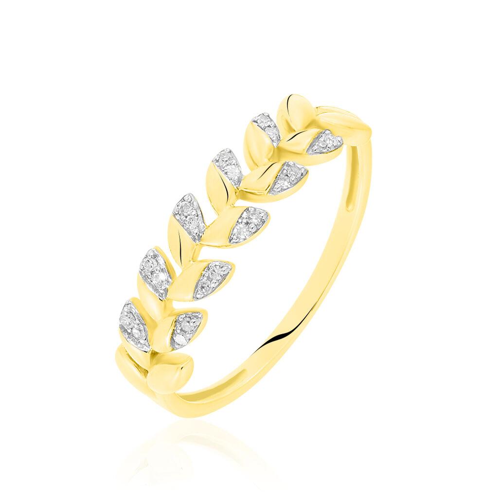 Bague Berinice Or Jaune Diamant - Bagues avec pierre Femme   Histoire d'Or