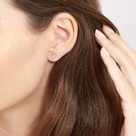 Boucles D'oreilles Puces Daria Cœur Or Blanc Oxyde De Zirconium - Boucles d'Oreilles Coeur Femme   Histoire d'Or
