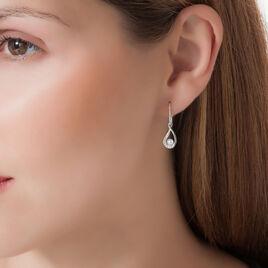 Boucles D'oreilles Pendantes Akiko Argent Perle De Culture Et Oxyde - Boucles d'oreilles fantaisie Femme   Histoire d'Or
