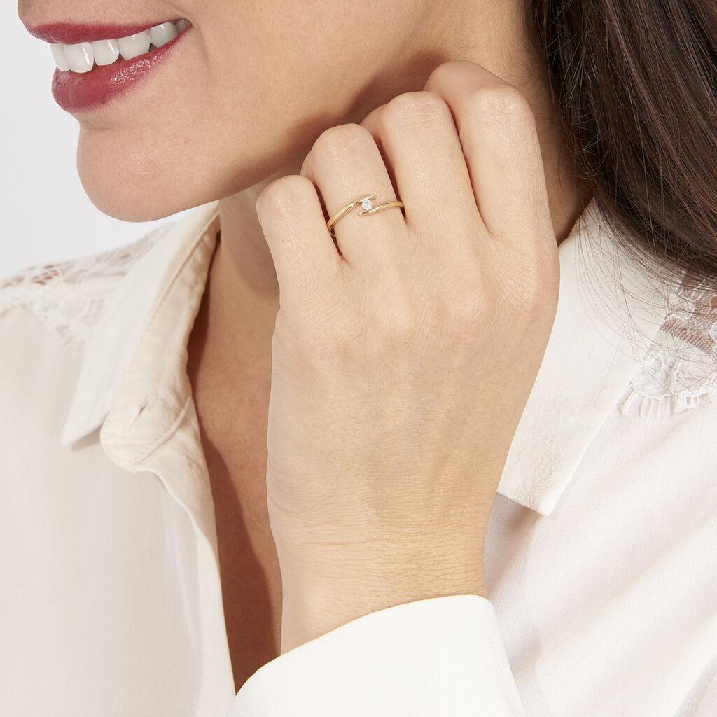 Bague Nolah Or Jaune Diamant - Bagues solitaires Femme   Histoire d'Or