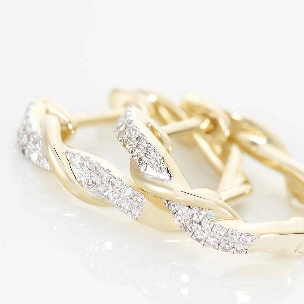Créoles Vincenzina Rondes Or Jaune Diamant - Boucles d'oreilles créoles Femme   Histoire d'Or