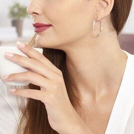 Créoles Alieno Helicoidale Argent Blanc - Boucles d'oreilles créoles Femme   Histoire d'Or