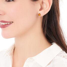 Boucles D'oreilles Puces Majdeline Argent Blanc Ambre - Boucles d'oreilles fantaisie Femme | Histoire d'Or