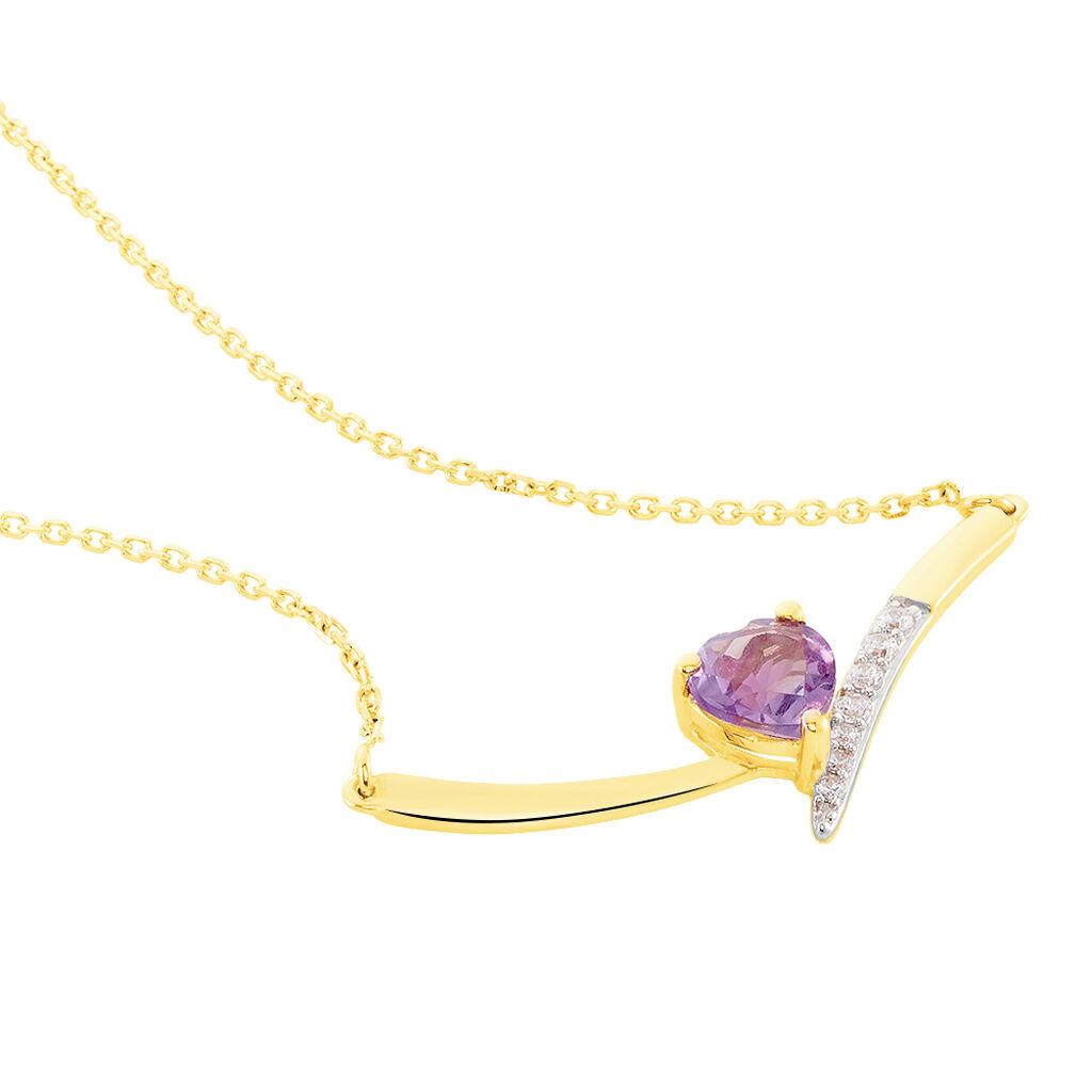Collier Eva Or Jaune Amethyste Et Oxyde De Zirconium - Bijoux Femme | Histoire d'Or