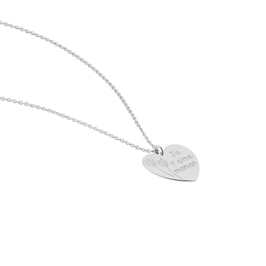 Collier Florine Argent Blanc - Colliers Coeur Femme | Histoire d'Or