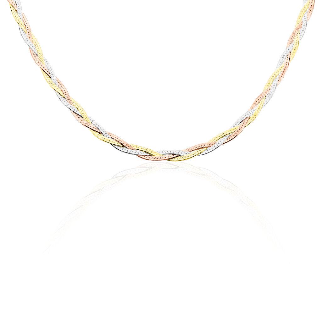 Chaîne Elae Maille Tresse Argent Tricolore - Chaines Femme | Histoire d'Or