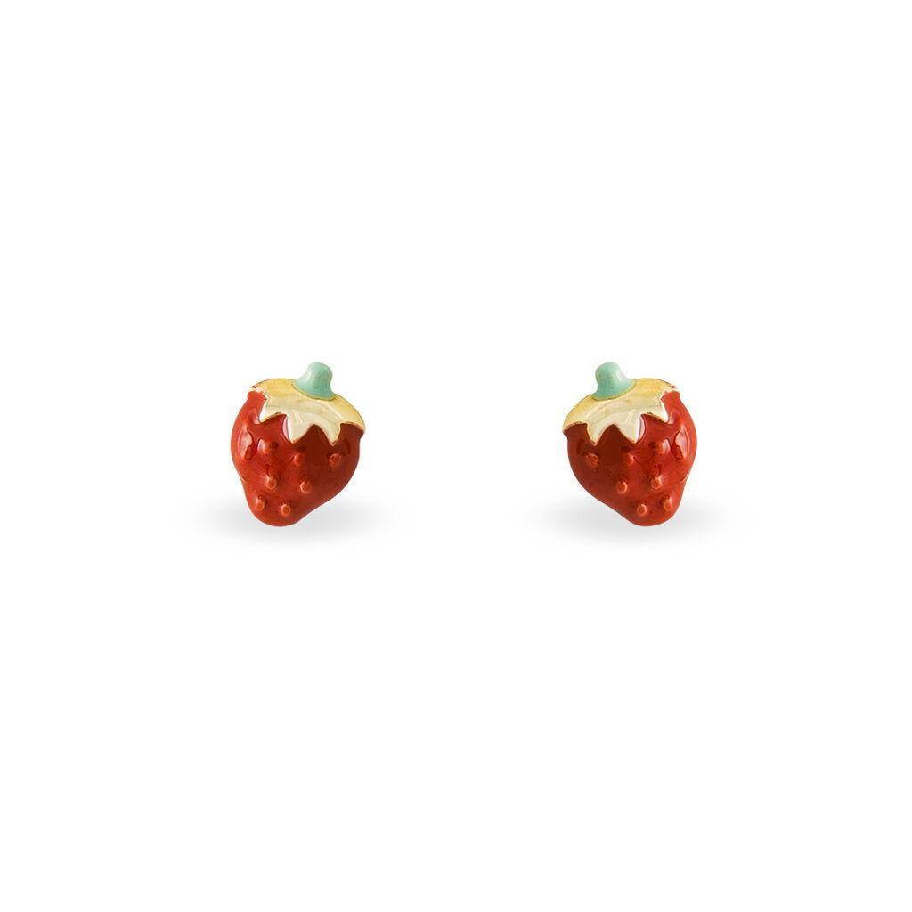 Boucles D'oreilles Puces Fraise Or Jaune - Clous d'oreilles Enfant | Histoire d'Or