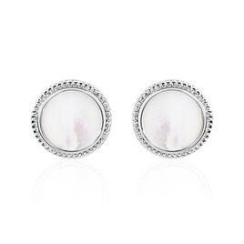 Boucles D'oreilles Puces Laetizia Celine Argent Blanc Nacre - Boucles d'oreilles fantaisie Femme | Histoire d'Or