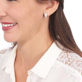 Créoles Camelia Rondes Argent Blanc Oxyde De Zirconium - Boucles d'oreilles créoles Femme   Histoire d'Or