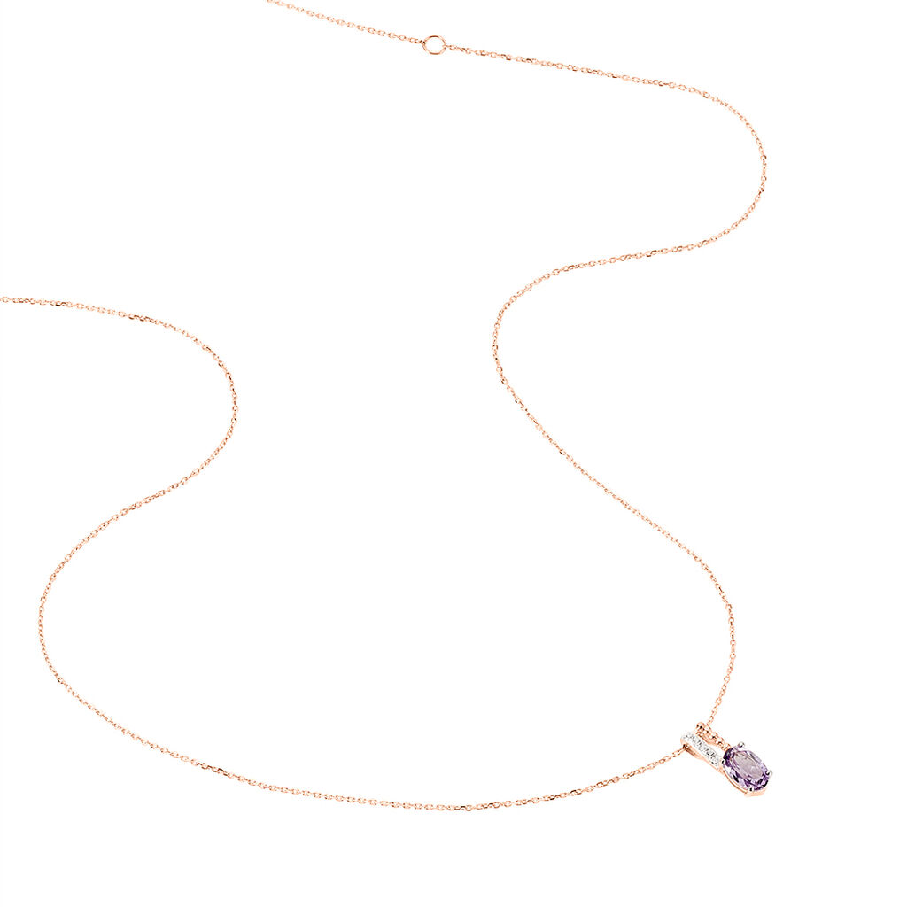 Collier Frannie Or Rose Amethyste Et Oxyde De Zirconium - Bijoux Femme   Histoire d'Or