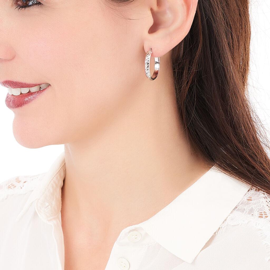 Créoles Esmee Fil Plat Diamanté Argent Blanc - Boucles d'oreilles créoles Femme | Histoire d'Or