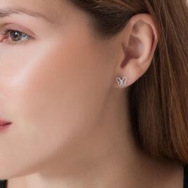 Boucles D'oreilles Puces Or Blanc Oxyde De Zirconium - Boucles d'Oreilles Papillon Femme | Histoire d'Or