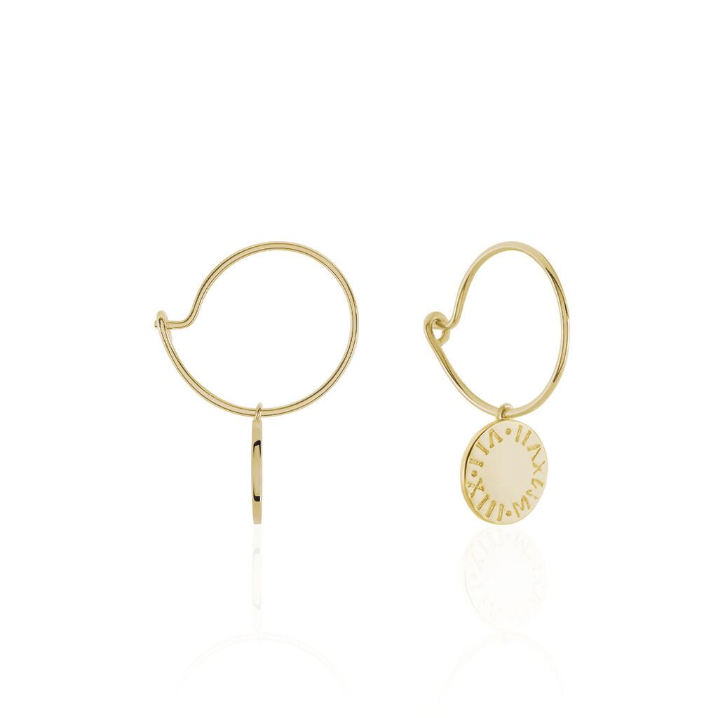 Créoles Olivea Plaque Or Jaune - Boucles d'oreilles créoles Femme   Histoire d'Or