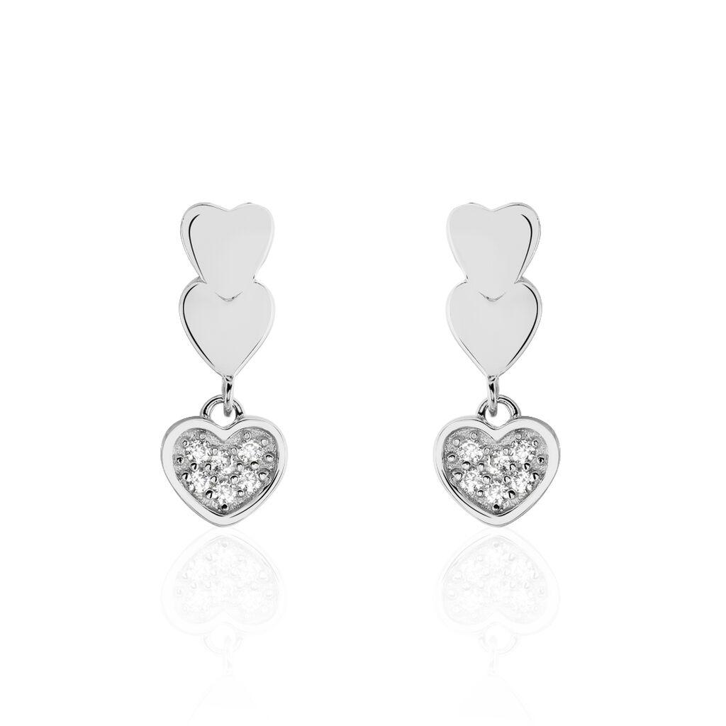 Boucles D'oreilles Pendantes Addison Argent Blanc Oxyde De Zirconium - Boucles d'Oreilles Coeur Femme | Histoire d'Or