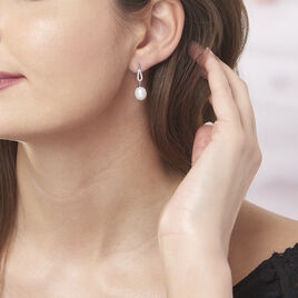 Boucles D'oreilles Pendantes Ludy Argent Perle De Culture Et Oxyde - Boucles d'oreilles fantaisie Femme   Histoire d'Or