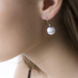 Boucles D'oreilles Pendantes Rose-blanche Argent Strass Et Céramique - Boucles d'oreilles fantaisie Femme   Histoire d'Or