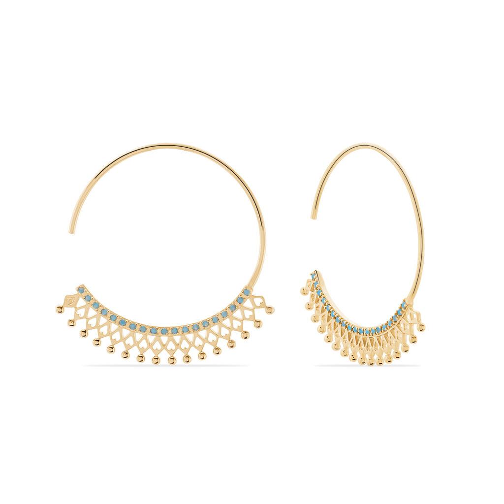 Créoles Cilla Plaque Or Jaune Pierre De Synthese - Boucles d'oreilles créoles Femme | Histoire d'Or