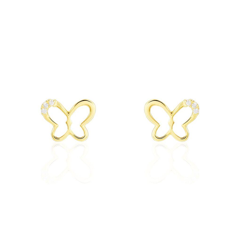 Boucles D'oreilles Puces Camomille Or Jaune Oxyde De Zirconium - Boucles d'Oreilles Papillon Famille | Histoire d'Or
