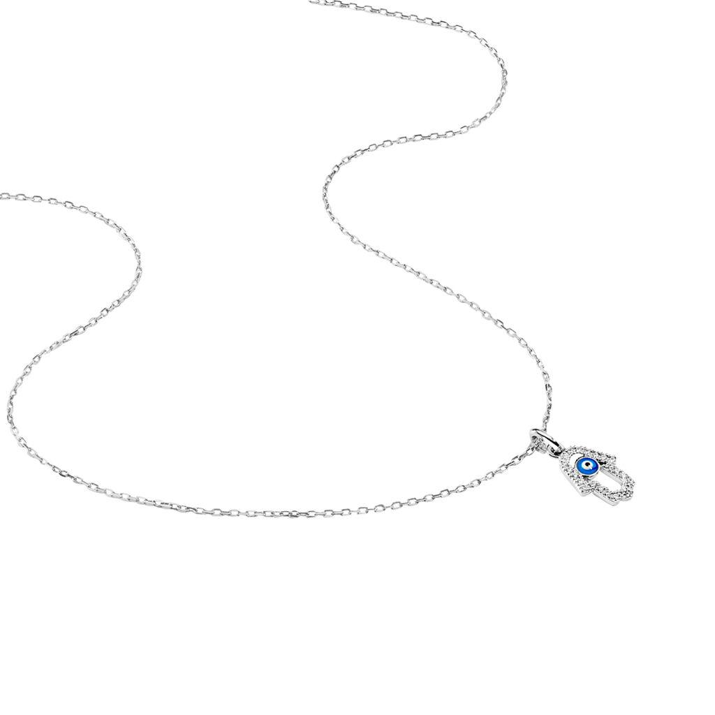 Collier Loralie Argent Blanc Oxyde De Zirconium - Colliers Main de Fatma Femme   Histoire d'Or