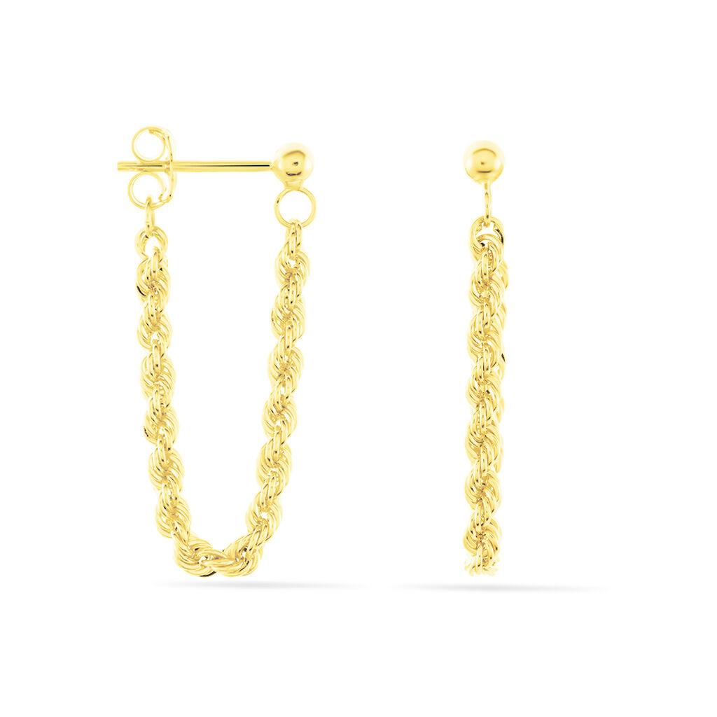 Boucles D'oreilles Pendantes Jerry Corde Or Jaune - Boucles d'oreilles pendantes Femme   Histoire d'Or
