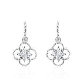 Boucles D'oreilles Pendantes Laetizia Fleur Argent Oxyde De Zirconium - Boucles d'oreilles fantaisie Femme | Histoire d'Or