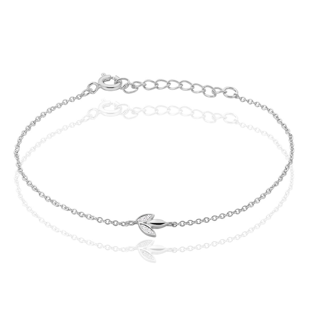 Bracelet Sirin Argent Blanc Oxyde De Zirconium - Bracelets Plume Femme   Histoire d'Or