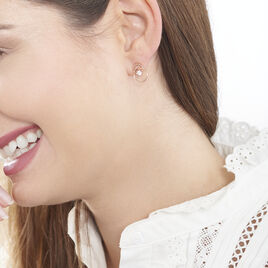 Boucles D'oreilles Pendantes Edima Or Rose Oxyde De Zirconium - Boucles d'oreilles pendantes Femme   Histoire d'Or