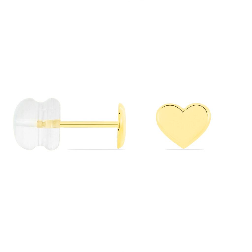 Boucles D'oreilles Puces Aricia Coeur Or Jaune - Boucles d'Oreilles Coeur Enfant | Histoire d'Or