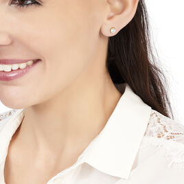 Boucles D'oreilles Puces Elda Serti Clos Or Jaune Oxyde De Zirconium - Clous d'oreilles Femme | Histoire d'Or
