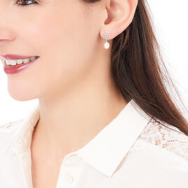 Boucles D'oreilles Pendantes Miley Argent Blanc Perle De Culture - Boucles d'Oreilles Coeur Femme | Histoire d'Or