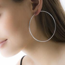 Créoles Liantsoa Argent Blanc - Boucles d'oreilles créoles Femme | Histoire d'Or